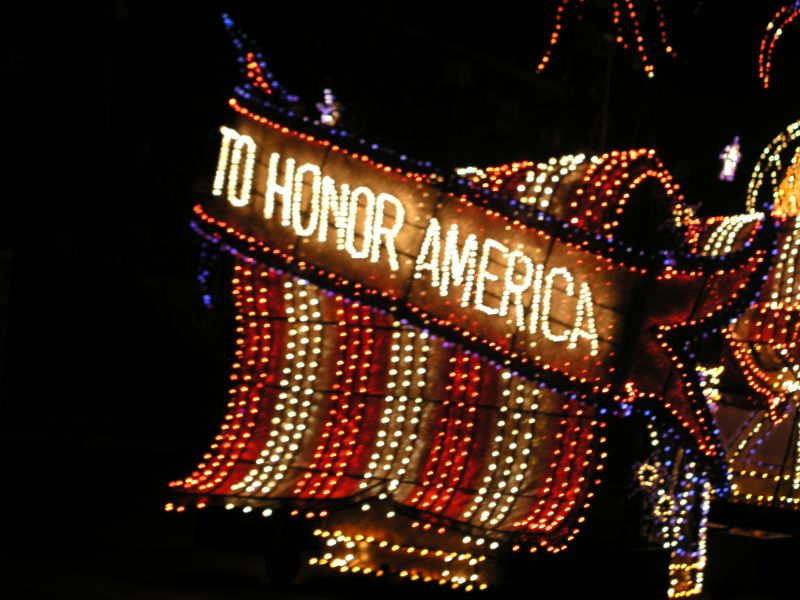 Disneys Electrical Parade. To honor America.